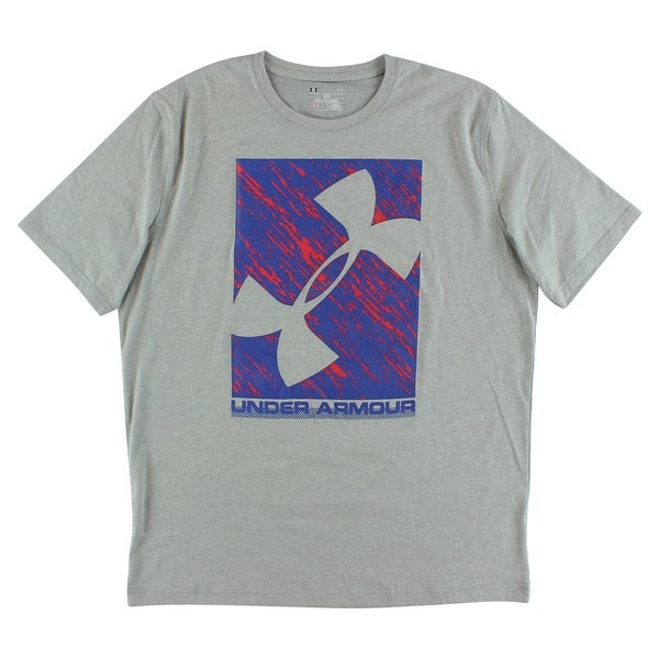 Shop Under Armour Mens Distortion T Shirt Gray Gray Red Blue On