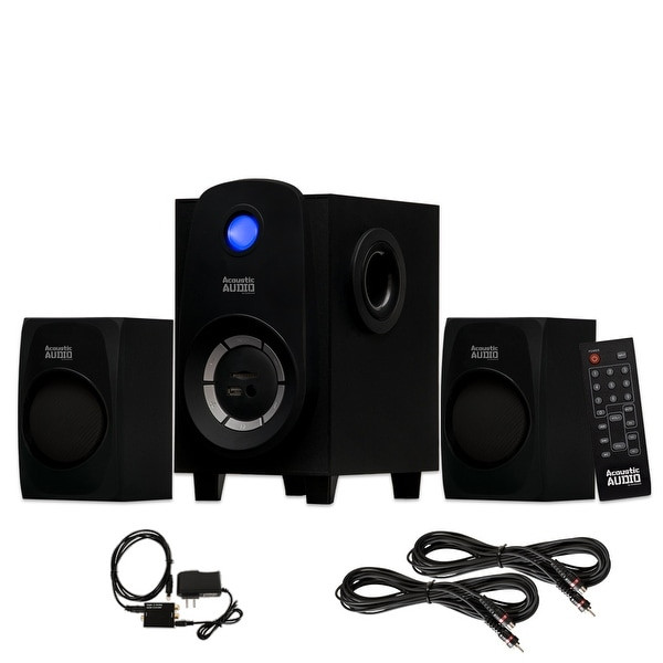 Acoustic Audio AA2107 Bluetooth 2.1 Speaker System w/ Optical In & 2 Ext Cables