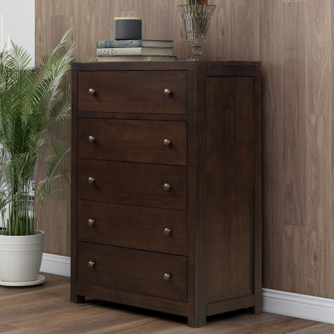 Rich Brown Vintage Aesthetic Bedroom 5 Drawers Solid Wood Chest