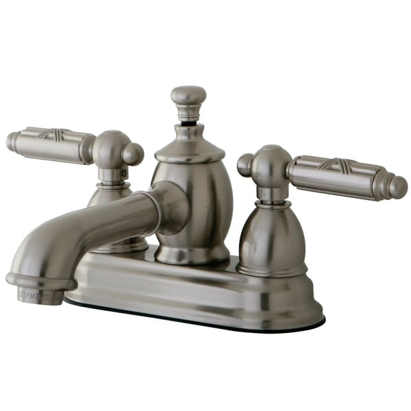 Kingston Brass KS700.GL Georgian 1.2 GPM Centerset Bathroom Faucet with Pop-Up Drain Assembly and Metal Handles