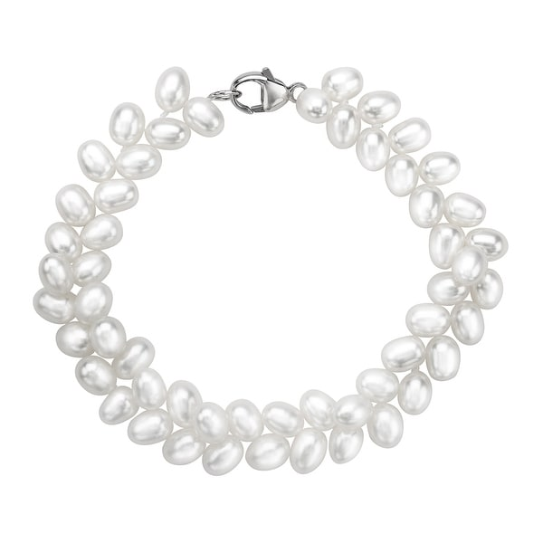 Honora 5 mm Oval Freshwater Pearl Herringbone Bracelet with Sterling Silver Clasp