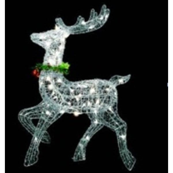 "25"" Lighted Silver Sisal Prancing Reindeer Christmas Outdoor Decoration"