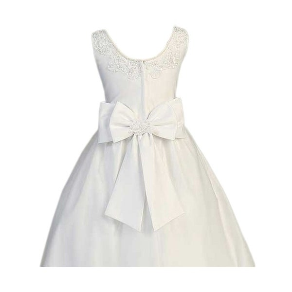 Lito Girls White Satin Sleeveless First Communion Dress Shawl 7-20.5