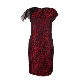 Anne Klein Women's Boat Neck Sheath Dress - black/memling red