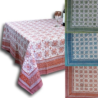 Cotton Geometric Floral Tablecloth Rectangular 60x90 Inches Blue, Green, Red - 60 x 90 inches