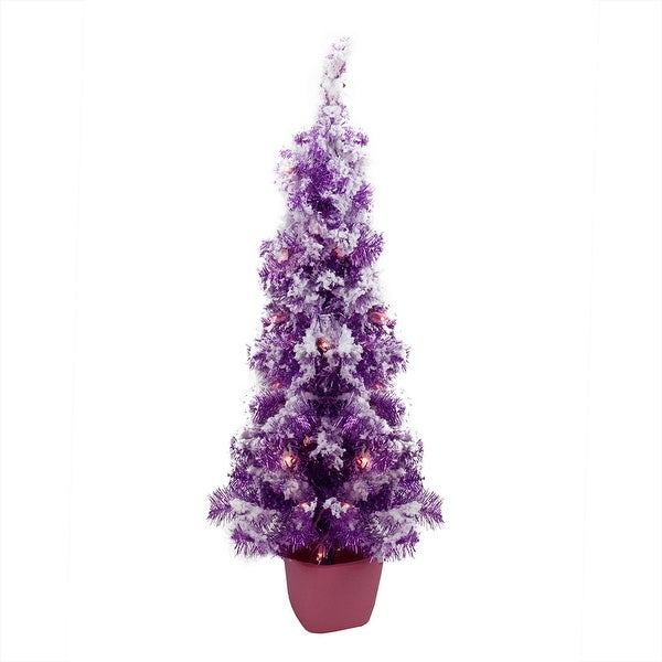 3.5' Pre-Lit Potted Flocked Purple Tinsel Artificial Christmas Tree - Clear Lights