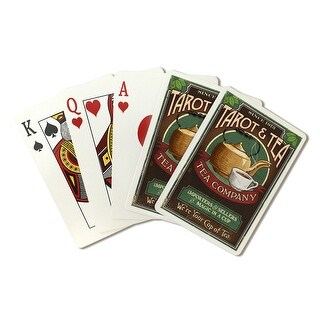 Tarot & Tea - Vintage Sign - Lantern Press Artwork (Poker Playing Cards Deck)
