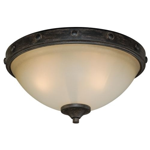 Vaxcel Lighting C0076 Halifax 2 Light Flush Mount Indoor Ceiling Fixture with Frosted Glass Shade - 14.5 Inches Wide
