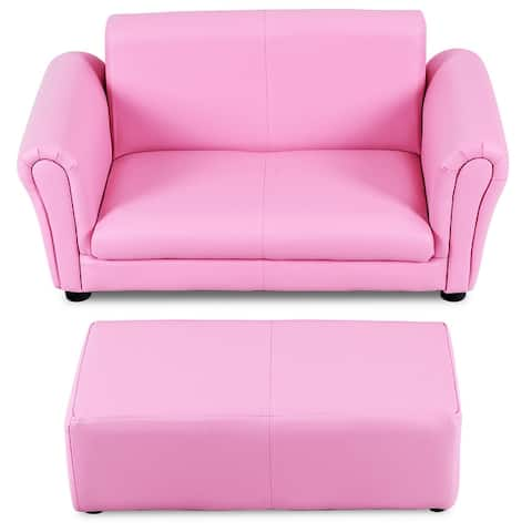 Children Sofa 2 Seat Armrest Chair Lounge with Footstool