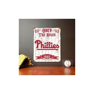 Party animal vsphi phillies embossed metal sign