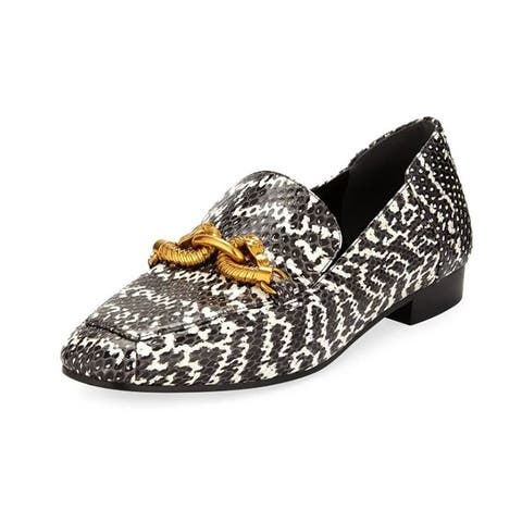 Tory Burch Black White Leather Jessa Loafer Gold Buckle