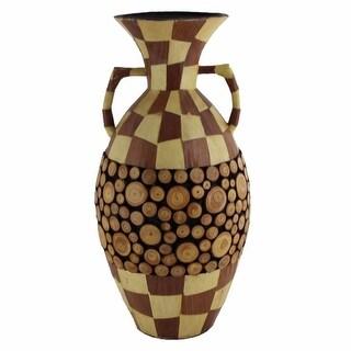 Ceramic/Wood Encrusted Vase, Multicolor(EN30334)