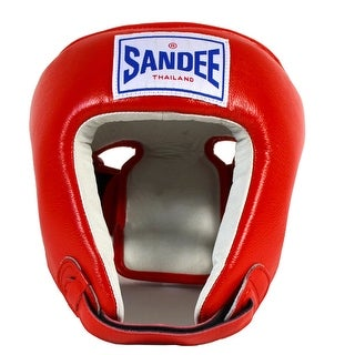 Sandee Open Face Leather Headgear - Red/White - s