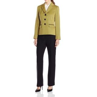 Le Suit NEW Green Black Herringbone Women's Size 14 Pant Suit Set