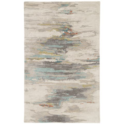 Tennyson Handmade Abstract Gray/ Blue Area Rug - 12' x 15'
