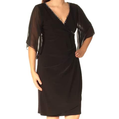 MSK Womens Black 3/4 Sleeve Knee Length Faux Wrap Dress Size 4