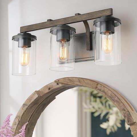 Carbon Loft Featherstone 3-lights Rustic Bath Vanity Light Fixture Wall Sconces Lights - Metallic