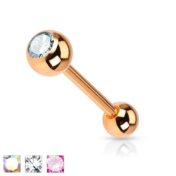 Crystal Ball Rose Gold IP Surgical Steel Tongue Barbell - 14GA (Sold Ind.)