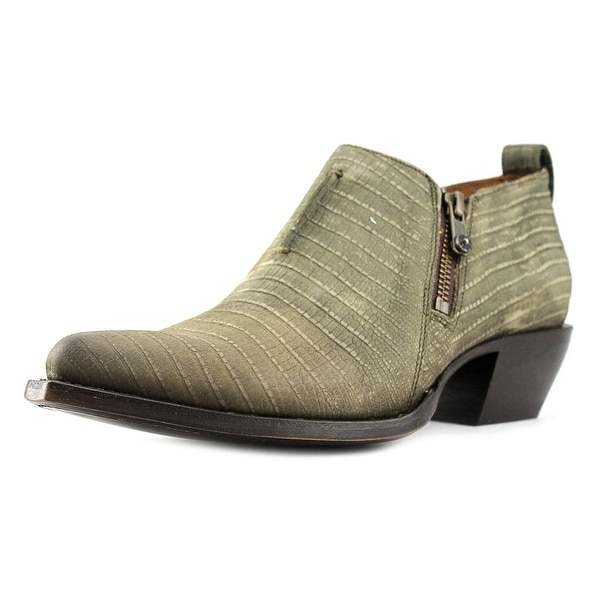 Frye Sacha Moto Shootie Women  Pointed Toe Leather Green Bootie