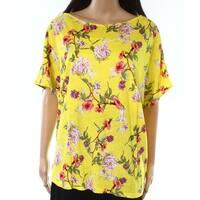 Lauren by Ralph Lauren Womens Plus Floral-Print Knit Top
