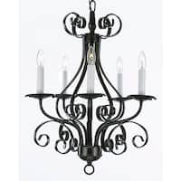 Wrought Iron 5 Light Black Chandelier Pendant