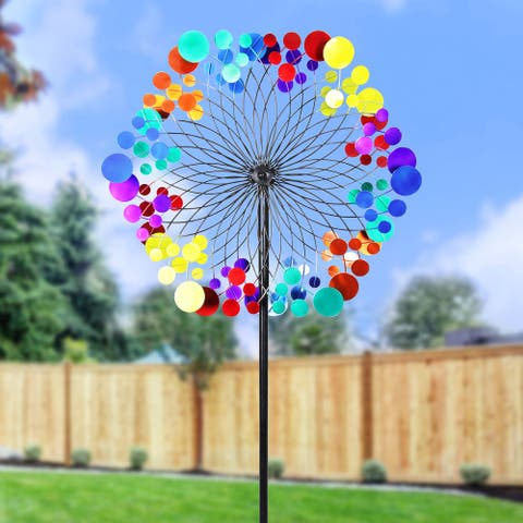 Exhart Giant Multicolor Kinetic Starry Night Metal Wind Spinner Garden Stake, 24 by 85 Inches