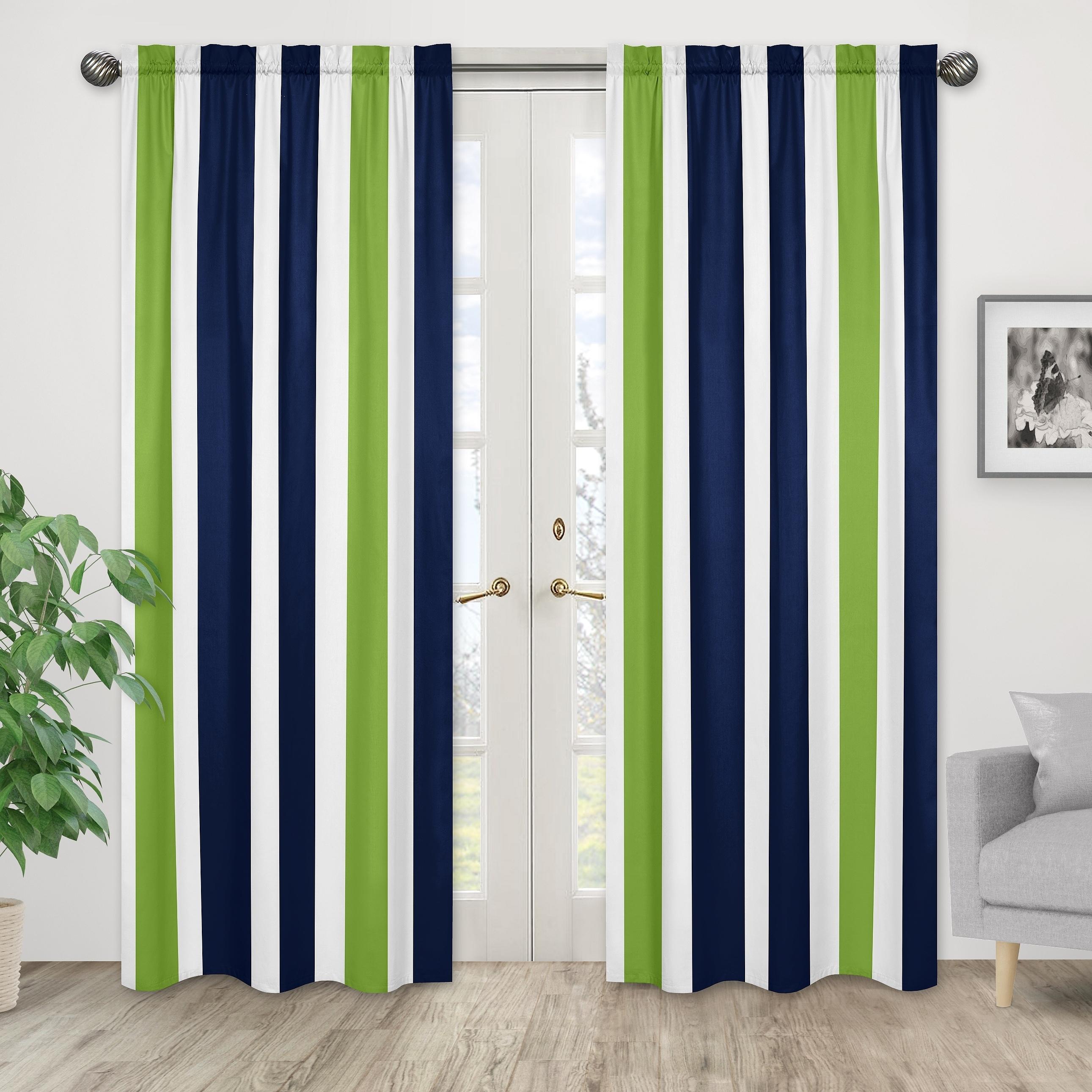 Sweet Jojo Designs Striped Navy Blue Lime Green White Window Curtain Panel Pair Overstock 14521006