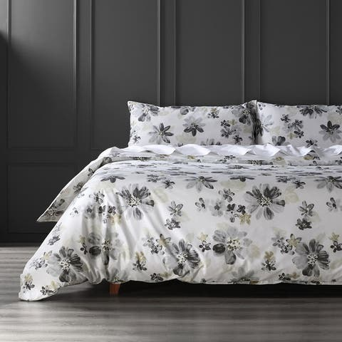 Exclusive Fabrics Blossom Neutral Cotton Percale Printed Reversible Duvet Cover Set