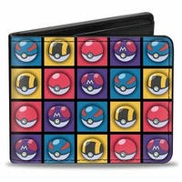 4 Pok Ball Blocks Repeat Black Multi Color Bi Fold Wallet - One Size Fits most