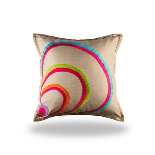 100% Handmade Imported Peacock Luck Pillow Cover, Bright Multi on Fawn