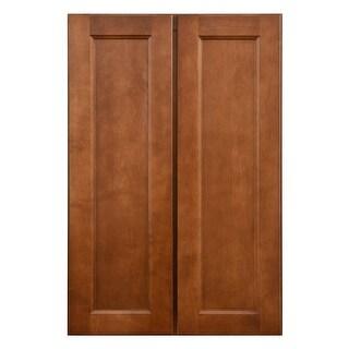 "Sunny Wood ESP2436T-A  Ellisen 24"" Wide x 36"" High Double Door Pantry Cabinet - Amber Spice"
