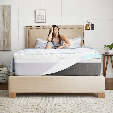 "3"" SealyChill Gel Memory Foam Mattress Topper with Cover"