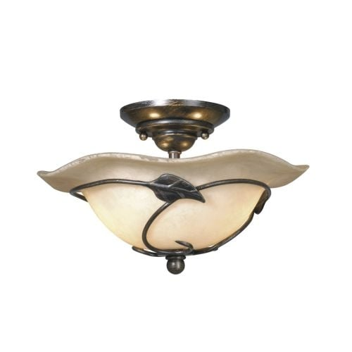 Vaxcel Lighting LK38812 Vine 2 Light Semi-Flush Indoor Ceiling Fixture with Organic Capiz Shell Shade - 12 Inches Wide