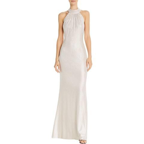 Aidan by Aidan Mattox Womens Evening Dress Open Back Halter - Champagne