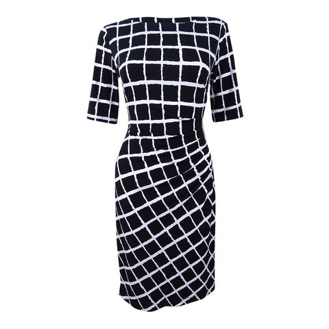 Connected Women's Windowpane-Print Ruched Sheath