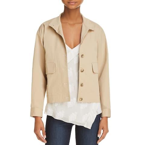 Theory Womens Bomber Jacket Cotton Blouson - Washed Khaki