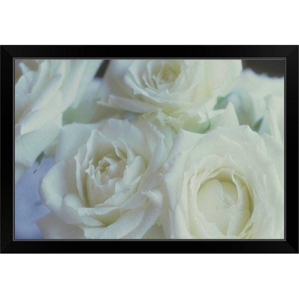 """""""Close-up of white roses"""" Black Framed Print"""