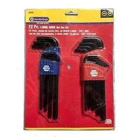 NAPA 22 PC. Long Arm SAE + Metric Hex Key Set