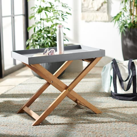 "SAFAVIEH Outdoor Terance Removable Tray Top Side Table - 23.6"" W x 15.7"" L x 19.6"" H - 23.6"" W x 15.7"" L x 19.6"" H"