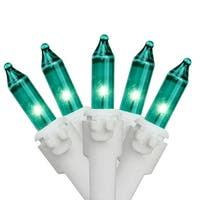 """Set of 100 Teal Green Mini Christmas Lights 4.25"""" Spacing - White  Wire"""