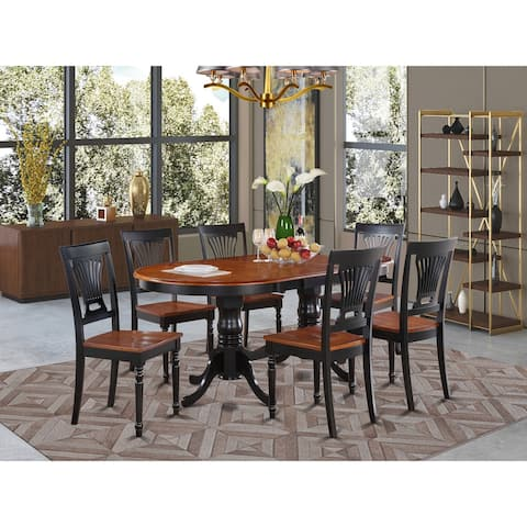 Traditional Black Finish Solid Rubberwood 7-Piece Dining Set with Plainville Table and 6 Chairs - Black and Cherry Finish