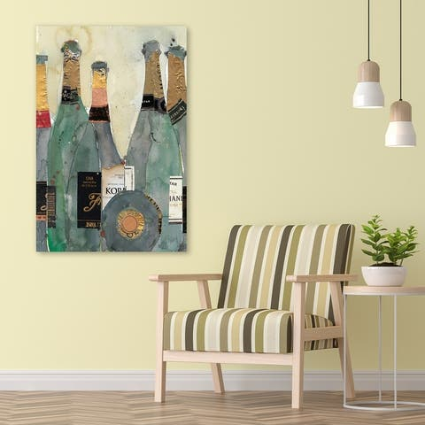 Champagne Bottles 2 Frameless Free Floating Tempered Glass Panel Graphic Wall Art Print 48 in. x 32 in.