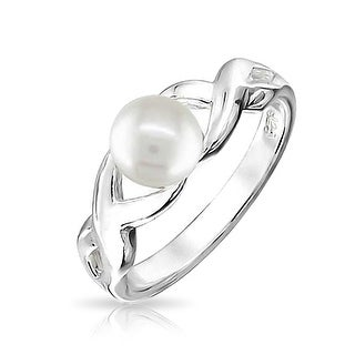 Bling Jewelry Infinity White Freshwater Cultured Pearl Bridal Ring 925 Sterling Silver