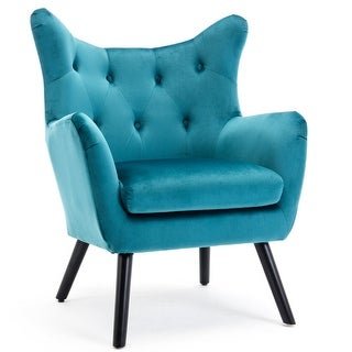 BELLEZE Accent Wing Back Chair Button Tufted Living Room Seat with Wood Leg, Teal