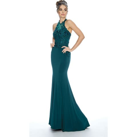 Stella Couture Halter Neck Formal Prom Long Dress