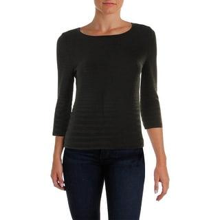 Calvin Klein Womens 3/4 Sleeves Textured Sweater