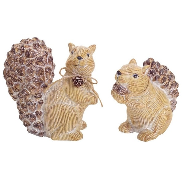 "Pack of 6 Frosted Beige Pine Cone Squirrel Table Top Christmas Decorations 5""-6"""
