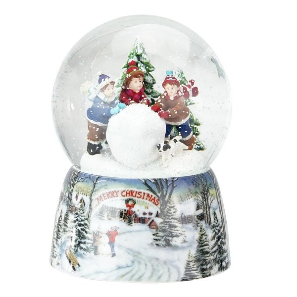 "5.5"" Red, Green and White Kids Rolling Snowball ""Merry Christmas"" Musical Snow Globe"