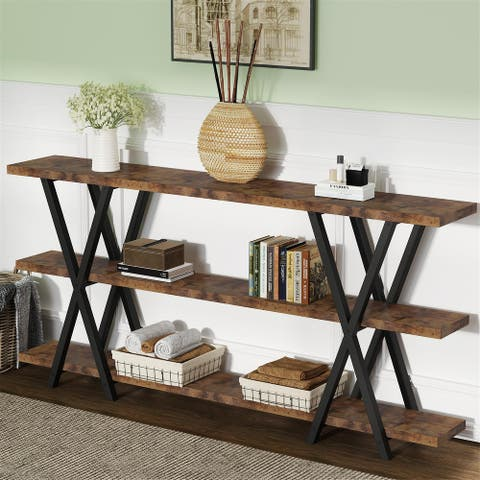 Narrow Long Sofa Table, TV Console Table with Storage for Entryway, Living Room, 70.8 Inch