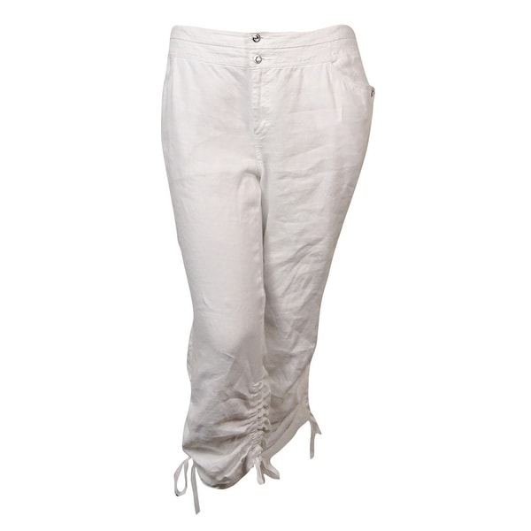 3e39b3e362cf5 Shop INC International Concepts Women s Linen Ruched Cargo Pants - Bright  White - Free Shipping On Orders Over  45 - Overstock - 14728651